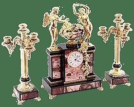 Часы «Амур и Психея» с канделябрами в каталоге магазина
