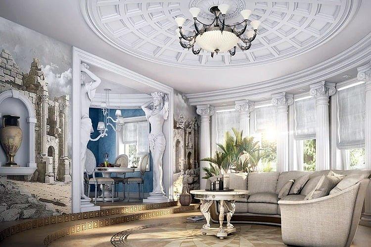 Греческий интерьер гостиной