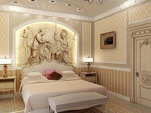Греческий интерьер спальни